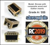 Stereophile Recommended Components 2019 Audio MusiKraft Bronze Cartridge